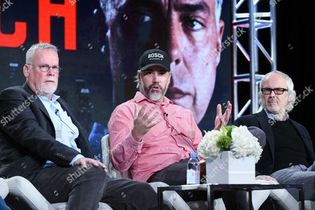 """Executive producers Michael Connelly, from left, Henrik Bastin and Pieter Jan Brugge participate in the """"Bosch"""" panel at the The Amazon 2016 Winter TCA, in Pasadena, Calif"""