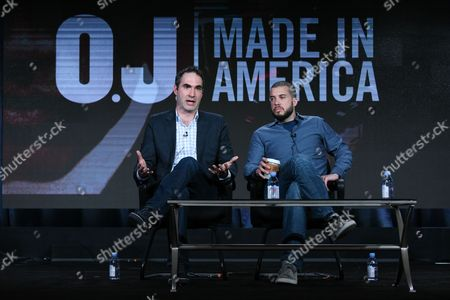 """Connor Schell, left, and Ezra Edelman speak on stage during the """"O.J. Made in America"""" panel at the ESPN 2016 Winter TCA, in Pasadena, Calif"""