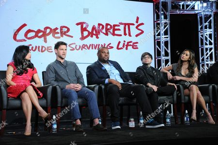 "Liza Lapira, from left, Justin Bartha, James Earl, Charlie Saxton and Meaghan Rath participates in a panel for ""Cooper Barrett's Guide to Surviving Life"" at the Fox Winter TCA, Pasadena, Calif"