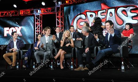 "David Del Rio, from top left, Andrew Call, Jordan Fisher, Kether Donahue, Keke Palmer and Carly Rae Jepson and Carlos Penavega, from bottom left, Vanessa Hudgens, Aaron Tveit, Julianne Hough, executive producer Marc Platt, and director Thomas Kail participate in a panel for ""Grease: Live"" at the Fox Winter TCA, Pasadena, Calif"