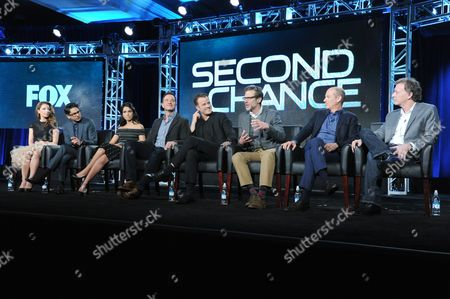 "Vanessa Lengies, from left, Adhir Kalyan, Dilshad Vadsaria, Tim DeKay, Rob Kazinsky, creator/executive producer Rand Ravich, executive producer Howard Gordon and executive producer Donald Todd participate in the ""Second Chance"" panel at the Fox Winter TCA, Pasadena, Calif"