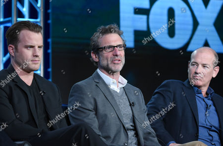 "Rob Kazinsky, from left, creator/executive producer Rand Ravich and executive producer Howard Gordon participate in the ""Second Chance"" panel at the Fox Winter TCA, Pasadena, Calif"