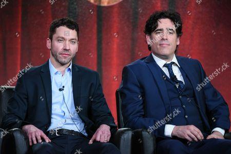 "Actors Michael Weston, left, Stephen Mangan participate in the ""Houdini & Doyle"" panel at the Fox Winter TCA, Pasadena, Calif"