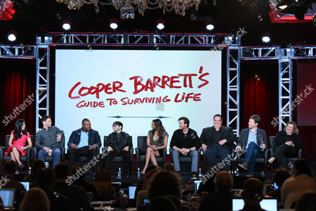 "Liza Lapira, from left, Justin Bartha, James Earl, Charlie Saxton, Meaghan Rath, Jack Cutmore-Scott, creator/executive producer Jay Lacopo, executive producer Bill Callahan and executive producer Gail Berman participate in a panel for ""Cooper Barrett's Guide to Surviving Life"" at the Fox Winter TCA, Pasadena, Calif"