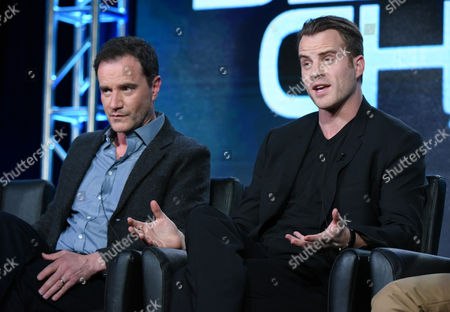 "Tim DeKay, left, and Rob Kazinsky participate in the ""Second Chance"" panel at the Fox Winter TCA, Pasadena, Calif"