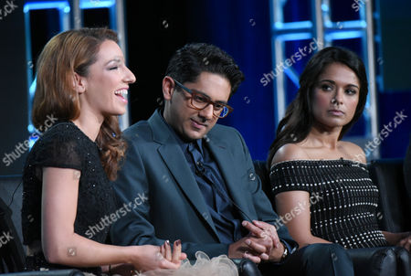 "Stock Photo of Vanessa Lengies, from left, Adhir Kalyan and Dilshad Vadsaria participate in the ""Second Chance"" panel at the Fox Winter TCA, Pasadena, Calif"