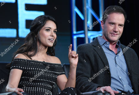 "Dilshad Vadsaria, left, and Tim DeKay participate in the ""Second Chance"" panel at the Fox Winter TCA, Pasadena, Calif"