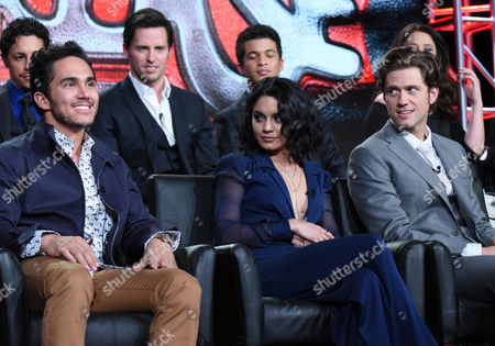 "David Del Rio, from top left, Andrew Call, Jordan Fisher and Carlos Penavega, from bottom left, Vanessa Hudgens and Aaron Tveit participate in a panel for ""Grease: Live"" at the Fox Winter TCA, Pasadena, Calif"