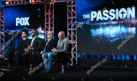 """Stock Picture of Executive Producer Adam Anders, from left, Tyler Perry, executive producer Mark Bracco and creator/executive producer Jacco Doornbos participate in a panel for """"The Passion"""" at the Fox Winter TCA, Pasadena, Calif"""