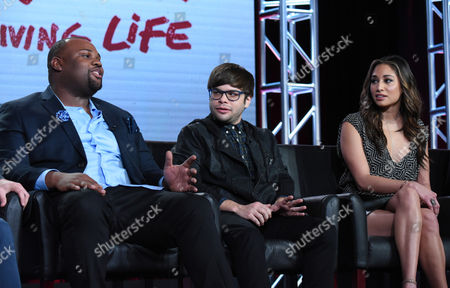 """James Earl, from left, Charlie Saxton and Meaghan Rath participate in a panel for """"Cooper Barrett's Guide to Surviving Life"""" at the Fox Winter TCA, Pasadena, Calif"""