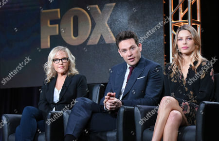 """Rachel Harris, from left, Kevin Alejandro and Lauren German participate in the """"Lucifer"""" panel at the Fox Winter TCA, Pasadena, Calif"""