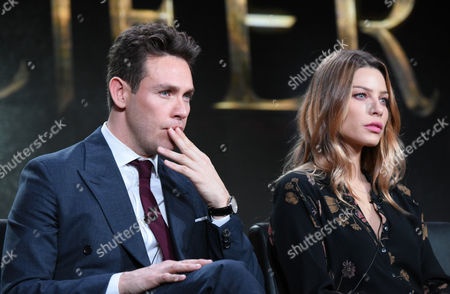 """Kevin Alejandro, left and Lauren German participate in the """"Lucifer"""" panel at the Fox Winter TCA, Pasadena, Calif"""