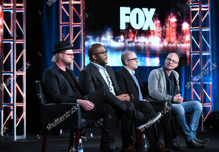 """Executive Producer Adam Anders, from left, Tyler Perry, executive producer Mark Bracco and creator/executive producer Jacco Doornbos participate in a panel for """"The Passion"""" at the Fox Winter TCA, Pasadena, Calif"""