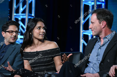"Adhir Kalyan, from left, Dilshad Vadsaria, and Tim DeKay participate in the ""Second Chance"" panel at the Fox Winter TCA, Pasadena, Calif"