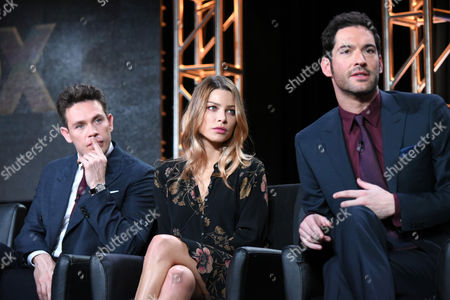 """Kevin Alejandro, from left, Lauren German and Tom Ellis participate in the """"Lucifer"""" panel at the Fox Winter TCA, Pasadena, Calif"""
