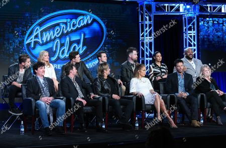 "Nick Fradiani, from top left, Lauren Alaina, Scotty McCreery, Kris Allen, David Cook, Jordin Sparks, Ruben Studdard and Scott Borchetta, from bottom left, Ryan Seacrest, Keith Urban, Jennifer Lopez, Harry Connick, Jr. and executive producer Trish Kinane participate in the ""American Idol"" panel at the Fox Winter TCA, Pasadena, Calif"