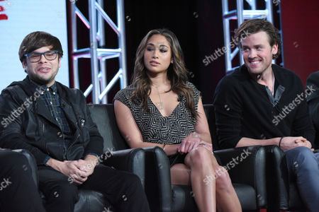 """Charlie Saxton, from left, Meaghan Rath and Jack Cutmore-Scott participate in a panel for """"Cooper Barrett's Guide to Surviving Life"""" at the Fox Winter TCA, Pasadena, Calif"""