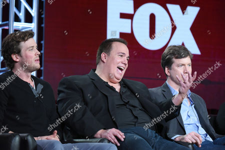 """Stock Photo of Jack Cutmore-Scott, from left, creator/executive producer Jay Lacopo, and executive producer Bill Callahan participate in a panel for """"Cooper Barrett's Guide to Surviving Life"""" at the Fox Winter TCA, Pasadena, Calif"""