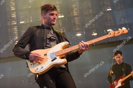 Cubbie Fink of Foster the People performs on stage during the 22nd KROQ Weenie Roast held at the Verizon Wireless Amphitheater on in Irvine, Calif
