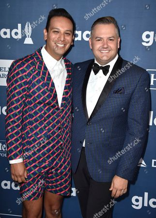 Salvador Camarena, left, and Ross Mathews arrive at the 27th Annual GLAAD Media Awards at the Beverly Hilton, in Beverly Hills, Calif
