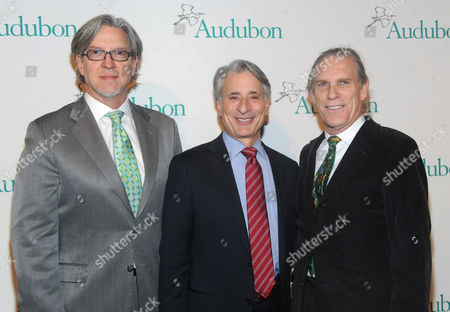 David Yarnold, President and CEO, National Audubon Society, center, Michael Cain, left, and Trammell Crow, right, attend the National Audubon Society's 2nd Annual Gala Dinner, in New York