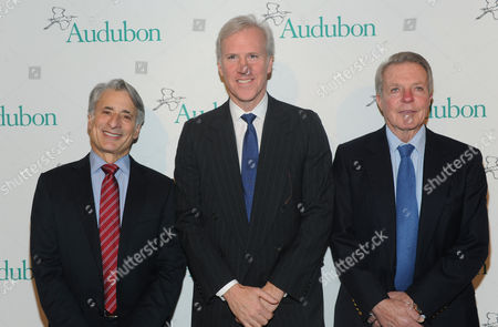David Yarnold, left, President and CEO, National Audubon Society, Holt Thrasher, Chairman, National Audubon Society, and honoree Dan Lufkin, right, attend the National Audubon Society's 2nd Annual Gala Dinner, in New York