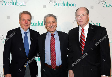 Stock Image of Honoree Dan Lufkin, left, David Yarnold, center, President and CEO, National Audubon Society, and honoree Patrick Noonan attend the National Audubon Society's 2nd Annual Gala Dinner, in New York