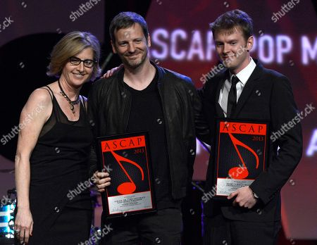 """ASCAP Vice President, Membership - Pop/Rock Sue Drew, Dr Luke and Cirkut who won the ASCAP Pop song award for """"Good Feeling"""" are seen onstage at the 30th Annual ASCAP Pop Music Awards,, at Loews Hollywood Hotel in Hollywood, California"""