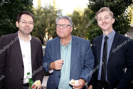 Stock Photo of Michael Kowalski, from left, James Gardner and Alex Allsup attend the 37th College Television Awards at the Skirball Cultural Center, in Los Angeles