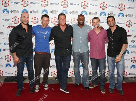 From left, Actors Brian Peeler, Graham Bunn, Bob Guiney, Roger Cross, Jesse Spencer and Gilles Marini arrive at The Children's Charity Of Southern California Texas Hold 'Em Poker Tournament hosted by Variety at Paramount Studios on in Los Angeles, California