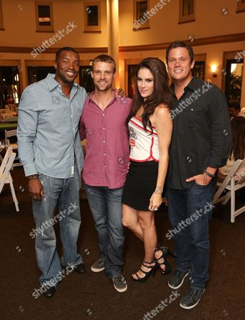 From left, Roger Cross, Jesse Spencer, Tiffany Michelle and Bob Guiney pose during the 3rd Annual Variety - The Children's Charity of Southern California Texas Hold 'Em Poker Tournament held at Paramount Studios, in Hollywood, California