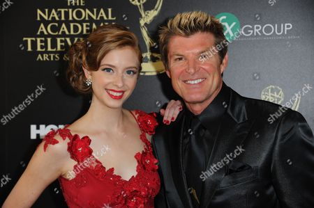 Ashlyn Pearce, left, and Winsor Harmon arrive at the 41st annual Daytime Emmy Awards at the Beverly Hilton Hotel, in Beverly Hills, Calif