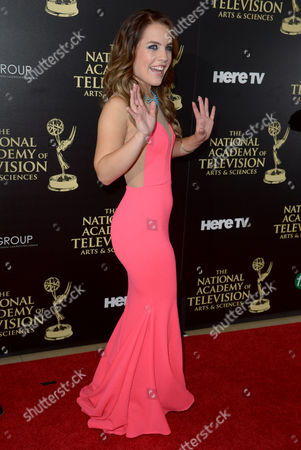 Kristen Alderson arrives at the 41st annual Daytime Emmy Awards at the Beverly Hilton Hotel, in Beverly Hills, Calif