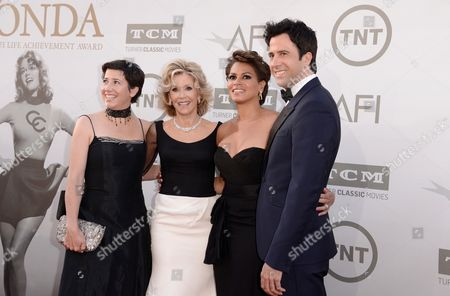 Vanessa Vadim and from left, Jane Fonda, Simone Bent and Troy Garity arrive at the 42nd AFI Lifetime Achievement Award Tribute Gala at the Dolby Theatre, in Los Angeles