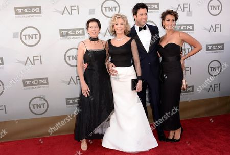 Vanessa Vadim and from left, Jane Fonda, Troy Garity and Simone Bent arrive at the 42nd AFI Lifetime Achievement Award Tribute Gala at the Dolby Theatre, in Los Angeles