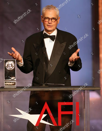 Caleb Deschanel accepts the Franklin J. Schaffner alumni medal at the 43rd AFI Lifetime Achievement Award Tribute Gala at the Dolby Theatre, in Los Angeles