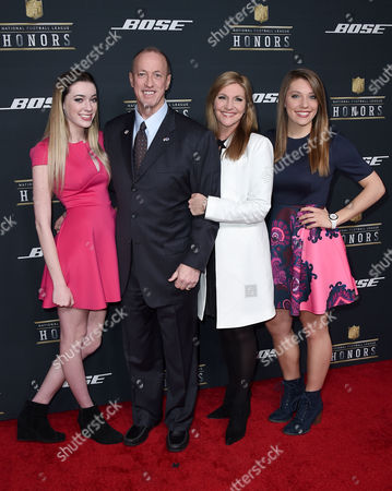 Camryn Kelly, from left, former NFL player Jim Kelly, Jill Kelly, and Erin Kelly arrive at the 5th annual NFL Honors at the Bill Graham Civic Auditorium, in San Francisco