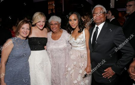 From left, Linda Moss, Elisabeth Moss, Valerie Washington, and Earl Washington are seen at the 65th Primetime Emmy Awards at Nokia Theatre, in Los Angeles