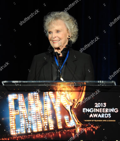 Actress June Lockhart presents the Emmy Engineering Award onstage at the 65th Primetime Emmy Engineering Awards,, at Loews Hollywood Hotel, in Hollywood, Calif