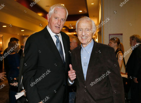 Stock Picture of Garrett Brown, left, and Haskell Wexler attend the 67th Engineering Emmy Awards at the Loews Hollywood Hotel, in Los Angeles