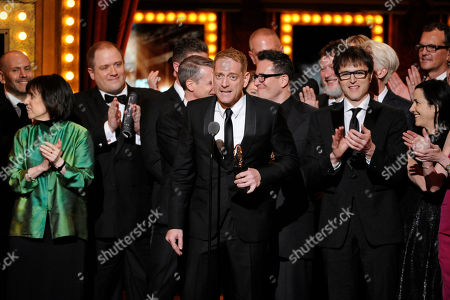 """David Binder accepts the award for Best Revival of a Musical with the cast of """"Hedwig and the Angry Inch"""" on stage at the 68th annual Tony Awards at Radio City Music Hall, in New York"""