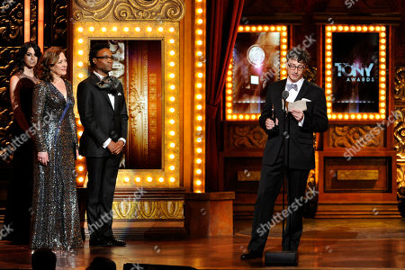 """Beowulf Boritt, right, accepts the award for best scenic design of a play for """"Act One"""" on stage at the 68th annual Tony Awards at Radio City Music Hall, in New York"""
