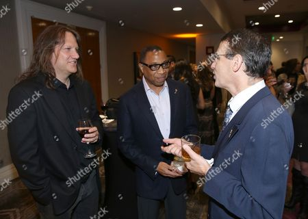 Tony Carey, from left, Hayma Washington, and Frank Morrone attend the 68th Engineering Emmys at Loews Hollywood Hotel, in Los Angeles