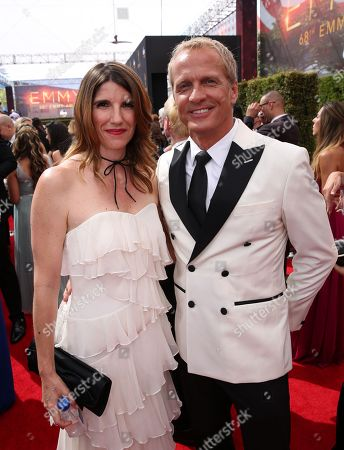 Mandy Fabian, left, and Patrick Fabian arrive at the 68th Primetime Emmy Awards, at the Microsoft Theater in Los Angeles