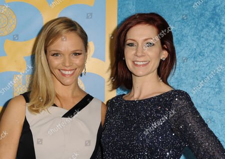 Lauren Bowles, left, and Carrie Preston arrive at the HBO Golden Globes afterparty at the Beverly Hilton Hotel, in Beverly Hills, Calif
