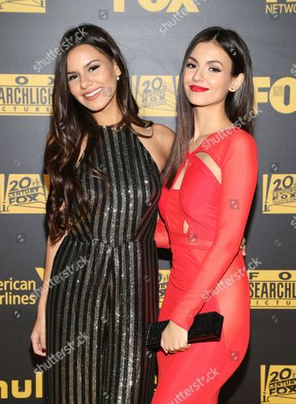 Madison Justice, left, and Victoria Justice arrive at the FOX Golden Globes afterparty, at the Beverly Hilton Hotel in Beverly Hills, Calif