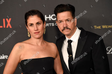 Heather Bucha, left, and Frank Whaley arrive at The Weinstein Company and Netflix Golden Globes afterparty, at the Beverly Hilton Hotel in Beverly Hills, Calif