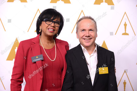 Cheryl Boone Isaacs and Glenn Freemantle arrive at the 86th Oscars Nominees Luncheon, on in Beverly Hills, Calif
