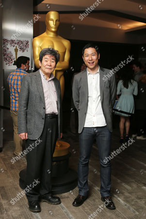 Sao Takahata, Yoshiaki Nishimura, arrive at 87th Academy Awards - Animated Features at Samuel Goldwyn Theater on Thursday, Feb.19, 2015, in Beverly Hills, Calif