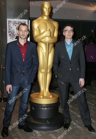 Anthony Stacchi, left, and Graham Annable arrive at 87th Academy Awards - Animated Features at Samuel Goldwyn Theater, in Beverly Hills, Calif
